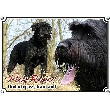 Schild mit Hund VORSICHT FREILAUFENDER HUND /» ca.22 x 16 cm Schiefertafel /« RIESENSCHNAUZER