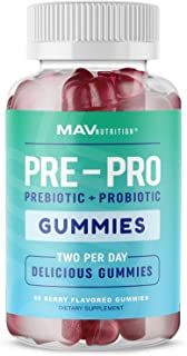 MAV Nutrition Prebiotic + Probiotic Gummies, with Vitamin B9 | for Immune Support and Digestive Health | 5 ...