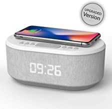 Bedside Radio Alarm Clock with USB Charger, Bluetooth Speaker, QI Wireless Charging, Dual..