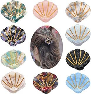Yeshan Acrylic Hair Claw Clips for Women Small Hair Jaw Clips Shell Hair Clips Resin Hair Barrettes Hair Accessories for Girls,Pack of 10