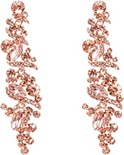 NLCAC Women's Wedding Earrings for Brides Dangling Rhinestone Crystal Chandelier Earring Drop Bridesmaids