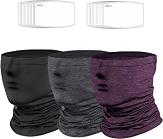 3Pack Brethable Face Mask Neck Gaiter with Filter,UV Face Covering- Lightweight Windproof Balaclava Scarf Shield (Black,Gr...