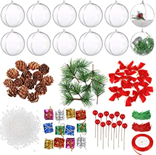 Auihiay 12 Pack 80mm Clear Ornaments Balls Plastic Christmas Ornaments Fillable Baubles for Christmas and Wedding Party Decorations