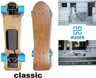 Huger Tech Classic Electric Skateboard 700W Top Speed 15 MPH Range 8.5 Miles Fast & Powerful 1 hub Motor and an IPX6 Waterproof Bluetooth SMS208