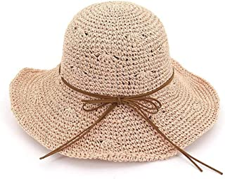 Fashion Fold up to Block The Sun with Large brims and Beach Hats Summer Hand-Crocheted Straw Hats for Ladies with Large Hollowed-Out Sun Hats That Comfort (Color : Pink)