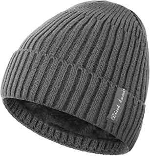 Novawo Winter Fleece Lined Beanie Hat Thick Skull Cap, Gray Without Neck Warmer