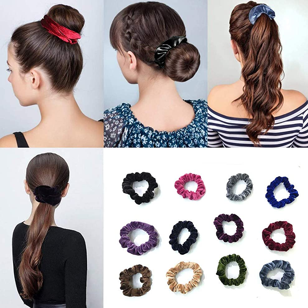 階デイジーオーディション12色レトロベルベットヘッドロープ 女性用または女の子用のヘアアクセサリー用のビロードの弾性ヘッドバンド (多色)