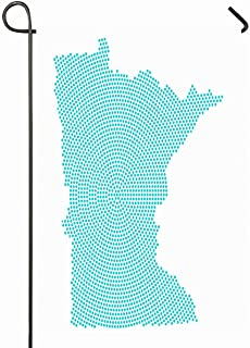 Ahawoso Outdoor Garden Flag 28x40 Inches Ai America Abstract Graphic Minnesota Map Blue Idea Round American Atlas Cartography Country Digital Seasonal Home Decorative House Yard Sign