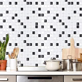 FARONZE Kitchen Mosaic Wall Tiles Peel and Stick Self-Adhesive DIY Backsplash Stick-on Vinyl Wall Tiles for Kitchen and Bathroom 10
