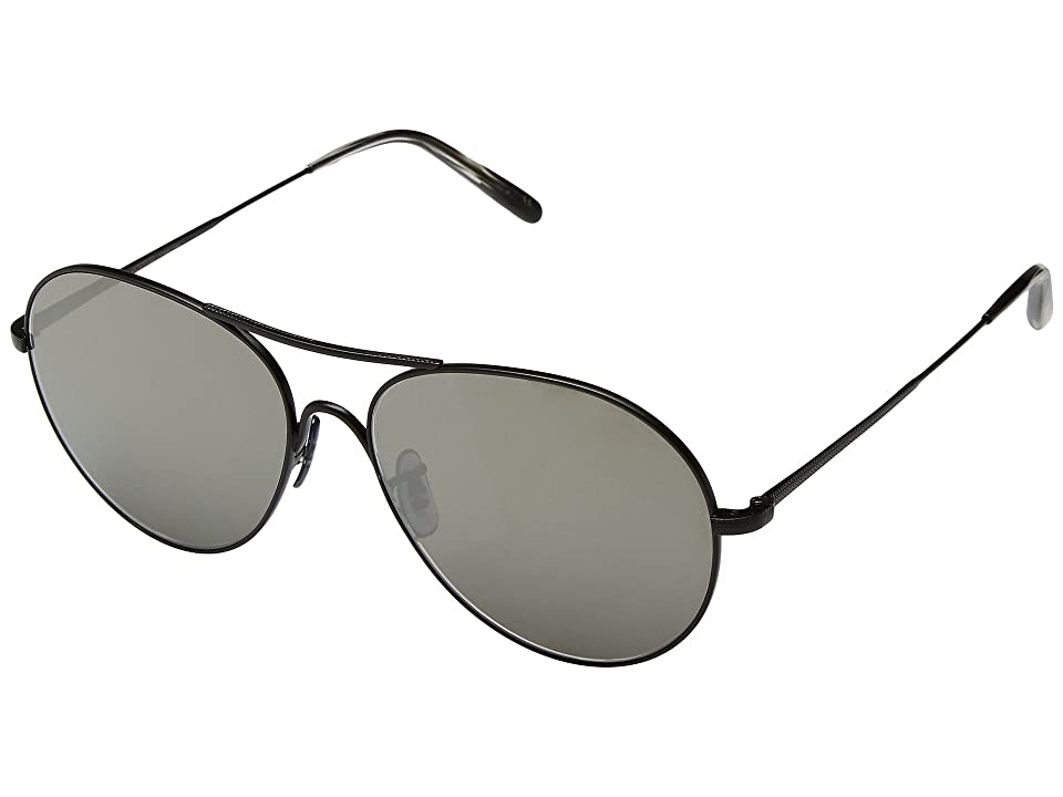 Oliver Peoples Rockmore (Matte Black/Grey Gold Tone) Fashion Sunglasses