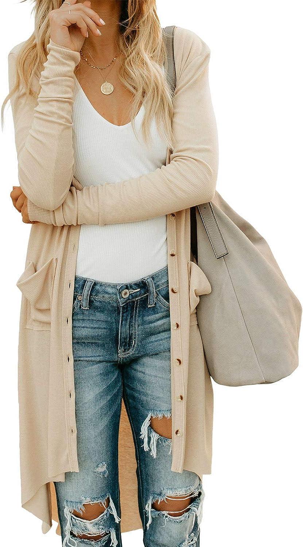 GOSOPIN Women Snap Button Down Open Front Long Knit Ribbed Cardigans Outwear