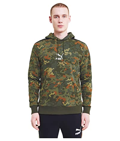 PUMA Classics Graphics AOP Logo Hoodie (Forest Night) Men