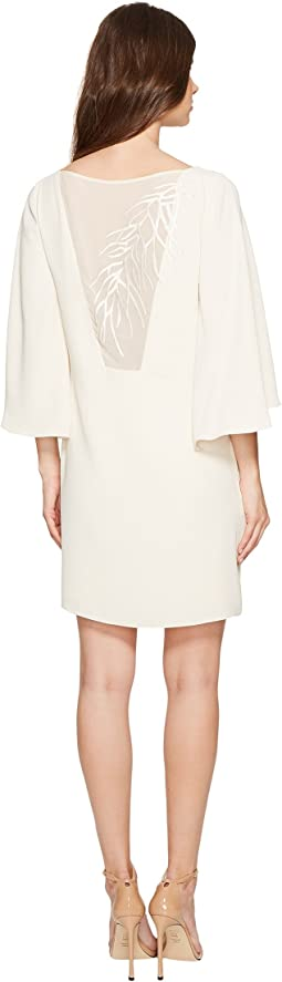 Halston Heritage - Short Sleeve Round Neck Dress w/ Back Embroidery