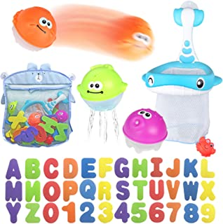 Bath Toy Sets, 36 Foam Bath Letters and Numbers, Floating Squirts Animal Toys Set with Fishing Net and Organizer Bag, Fish...