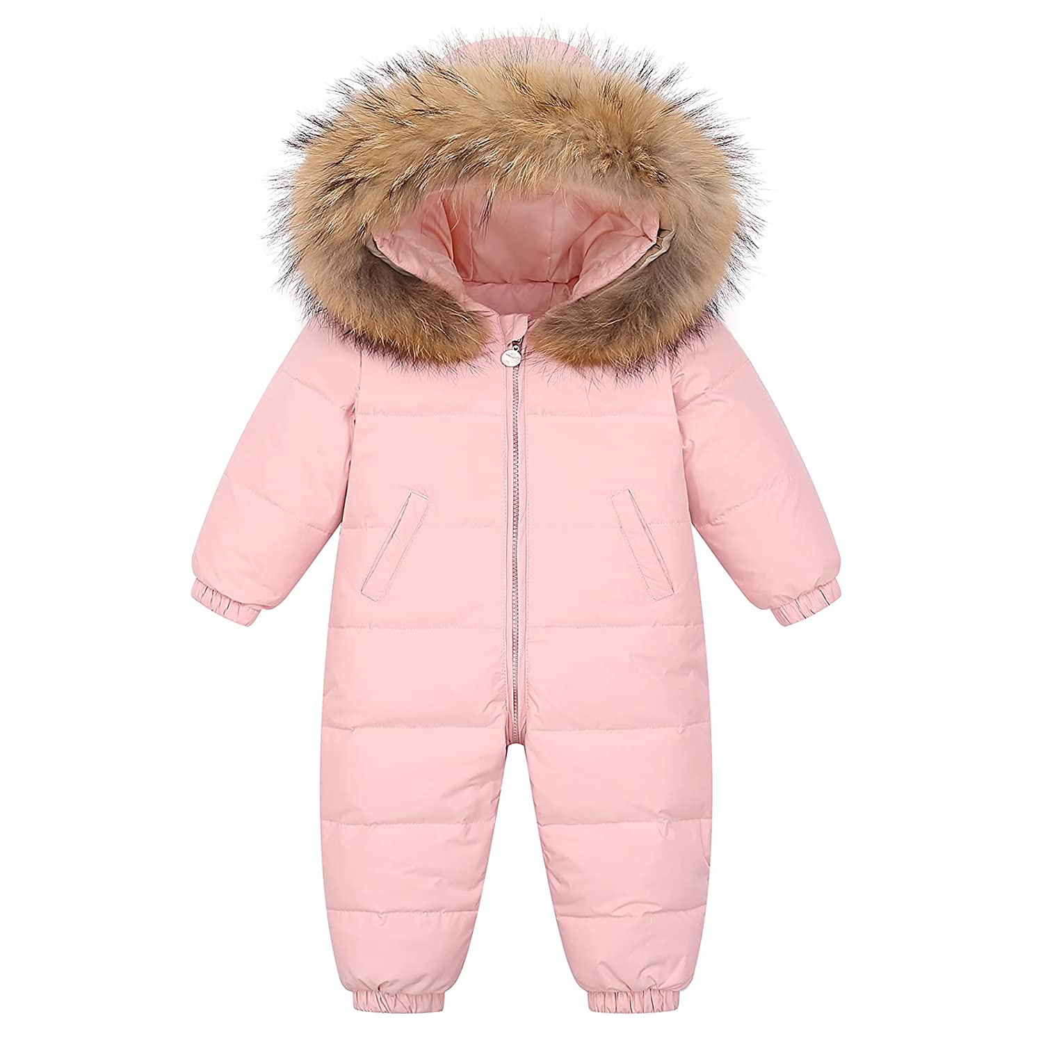 Baby Snowsuit Romper Winter Down Jacket Infant Skisuit Boys Girls Hooded Jumpsuit Outfit Pink 18-24 Months