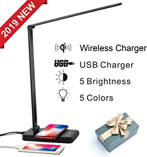 Sunfuny LED Desk Lamp with Qi Wireless Charger, USB Charging Port, College Table Lamp, Bedside Table Nightlight, 5 Lighting Modes&5 Dimmer Levels, Auto Timer, Touch Control, Black, Thanksgiving Gift