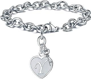 M MOOHAM Heart Initial Bracelets for Women Gifts - Engraved 26 Letters Initial Charms Bracelet Stainless Steel Bracelet Bi...