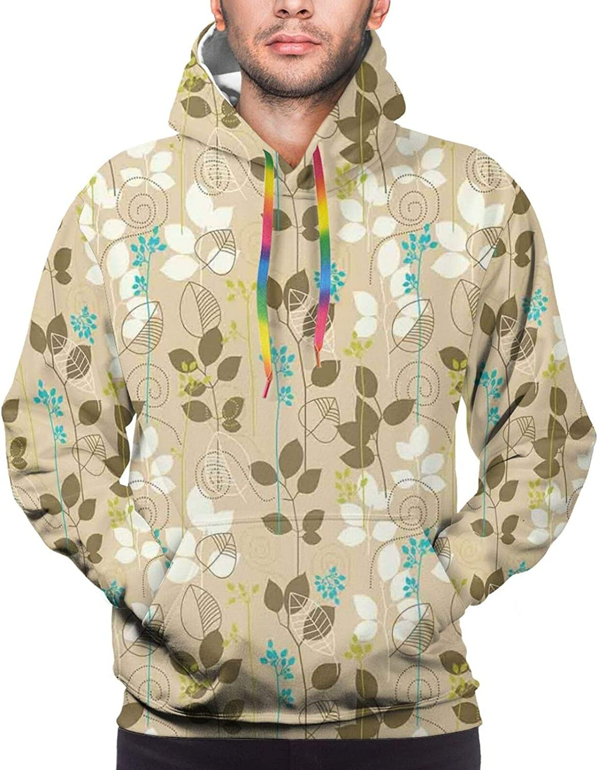 Men's Hoodies Sweatshirts,Retro Drawn Doodled Floral Elements Bloomed Roses and Swirled Geometric Figures