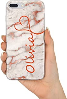 TULLUN Personalised Individual Marble Name & Heart Custom Flexible Soft Gel Phone Case Cover for iPhone Models - Rose Gold Marble V3 - for iPhone 5c