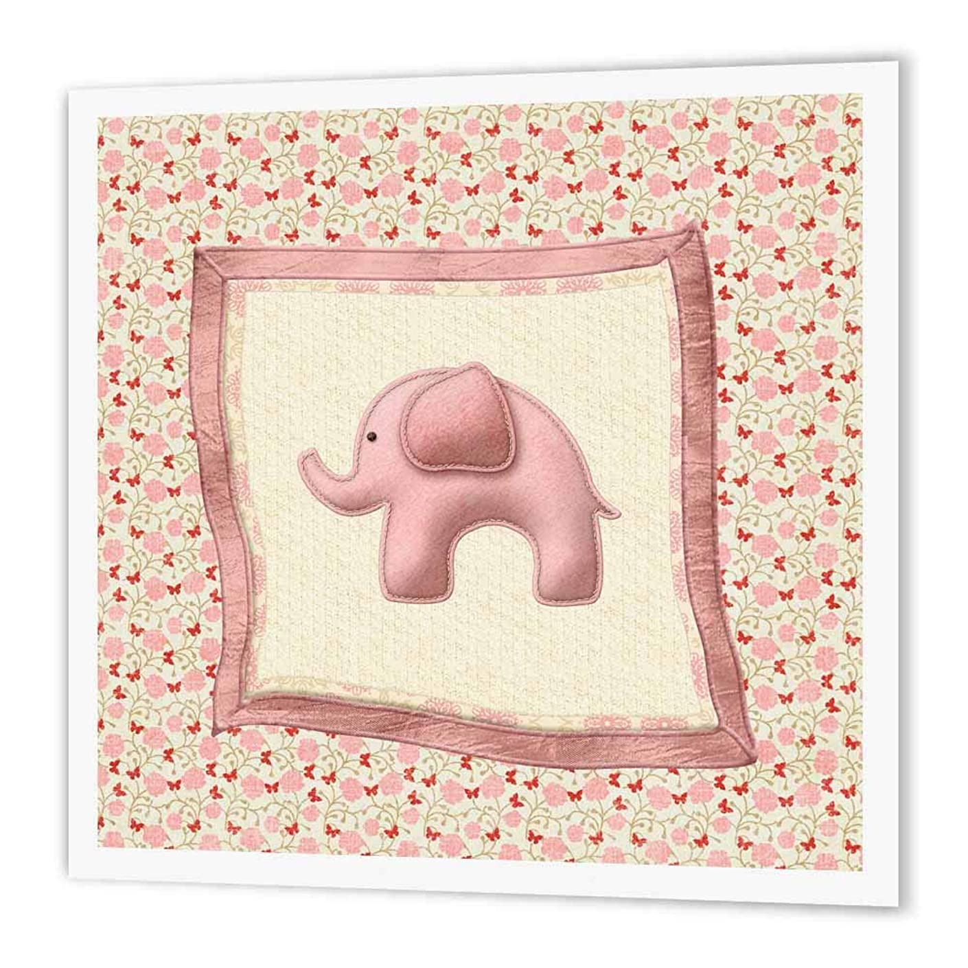 3dRose ht_192552_2 Baby Elephant Blanket with Butterflies & Flowers, Pink Iron on Heat Transfer Paper for White Material, 6 by 6