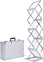 HAITIAN Aluminum Foldable Literature Holder Magazine Rack BrochureDisplay Stand Floor Pop-up Catalog Leaflet Flyer Holder with Portable Carrying Case for Tradeshow, Fair, Conference, Office Showroom