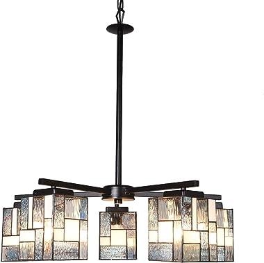 Artzone 5-Light Chandelier Tiffany Style Dining Table Light Black Finishing Dining Room Chandelier Hanging Pendant Lighting A