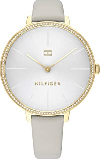 Tommy Hilfiger Women'S White Dial Grey Leather Watch - 1782110