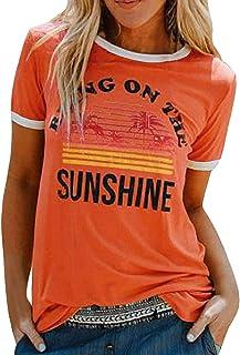 heekpek T-Shirt Femme Été Chemisier Chic T-Shirts Blouse Col Rond Tops Manches Courtes T Shirt Grande Taille Coton T Shirt...