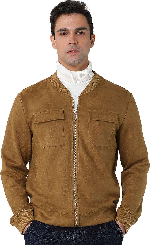 Lars Amadeus Men's Faux Suede Bomber 激安 買物 Leather Zip Baseb Jacket Up
