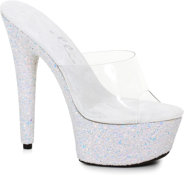 Ellie 6 Peinded Stiletto Mule Mule Mule Sandal med Glitter Platform  het försäljning