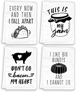 Funny Tea Towels Flour Sack Kitchen Towels and Dishcloths Sets - Cute Decorative Hand Towels for Birthday, Housewarming Gi...