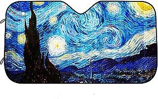 atimier Van Gogh Starry Sky Car Windshield Sun Shade Universal Fit Car Sunshade-Keep Your Vehicle Cool. UV Sun and Heat Reflector