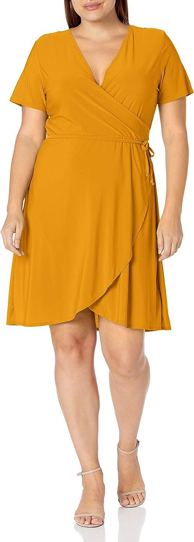 Star Vixen Women's Plus Size Ss Ballerina Wrap Dress, Mustard, 2X