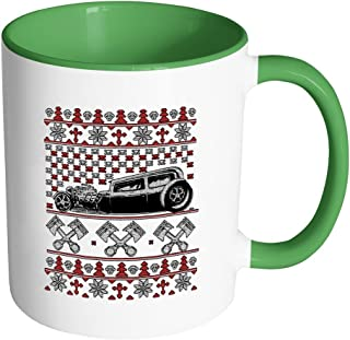 Hot Rod Motorhead Ugly Christmas Sweater 11oz Accent Coffee Mug (7 Colors)