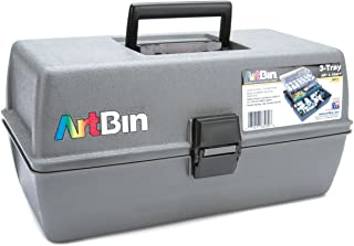 ArtBin 8413 Upscale 3 Tray Box, 14.5 in. x 8 in. x 7 in, Slate Gray with Two Cantilevered Trays, Arts and Craft Supply Storage, Polypropylene Molded, Portable