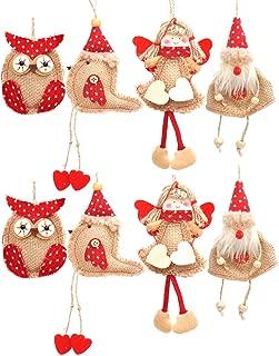 Welldone Christmas Ornaments Hanging Tree Decorations - 8pcs Burlap Owl Bird Santa Claus Angel