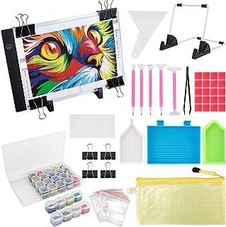 (59PCS) Diamond Painting A4 LED Light Pad Kit,DIY Dimmable Light Brightness Board,LED Artcraft Tracing Light Table,Reusabl...