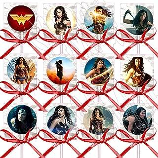 Wonder Woman Lollipops Party Favors Supplies Decorations Disney Movie Lollipops with Red Ribbon Bows Party Favors -12 pcs