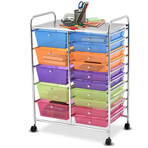 c962518aac0 Giantex 15 Drawer Rolling Storage Cart Tools Scrapbook Paper Office School  Organizer, Multicolor
