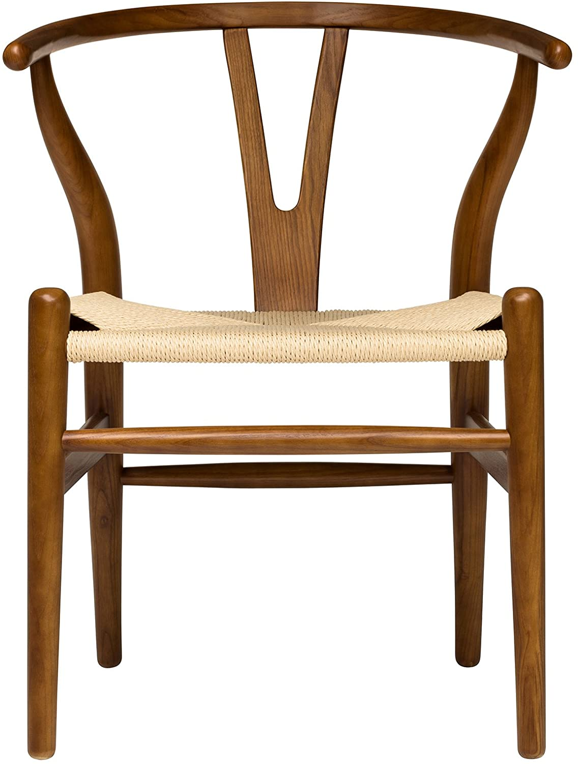Hans Wegner Wishbone Style Woven Seat Chair (Walnut with Natural Cord)
