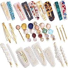 28 PCS Hingwah Pearls and Acrylic Resin Hair Clips, Handmade Hair Barrettes, Marble Alligator bobby pins, Glitter Crystal ...