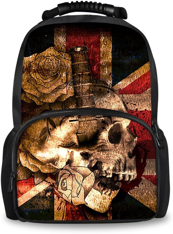 CHAQLIN Schulrucksack skull pattern-4 Large B073LPRQR7 | Schön In Der Farbe