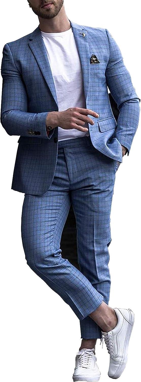 Men's Suits Blue Casual Blazer 2 Pieces Set Formal Jackets Pants Wedding Blazer Party Slim fit