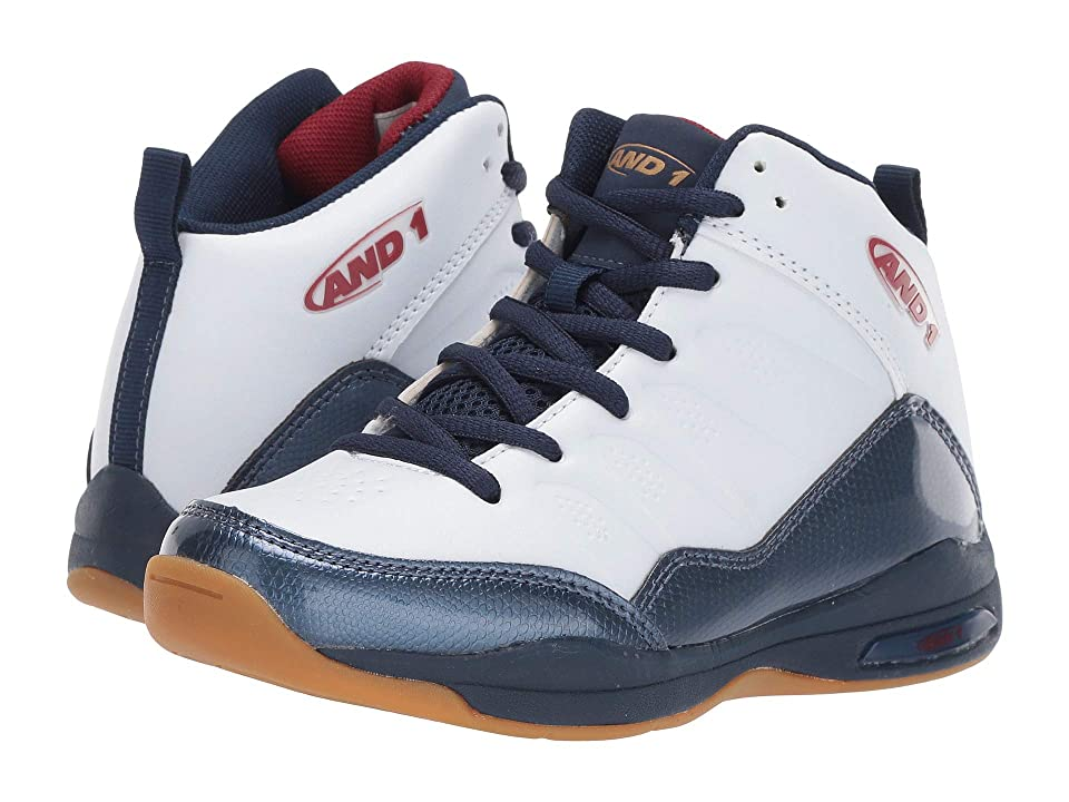 AND1 Kids Breakout (Little Kid/Big Kid) (White/Navy Peony/Cordovan) Boys Shoes