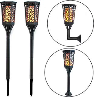 ICARE Solar Torch Light with Flickering Flame Waterproof Solar Lights Outdoor 99 LED 3 Lighting Modes Solar Garden Lights Auto On/Off Solar Spot Lights Outdoor (2 Pack)