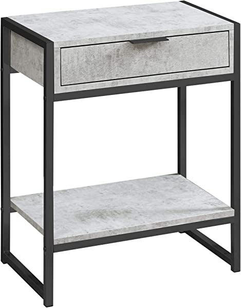 Monarch Specialties 24 In Accent Table In Gray Cement And Black Nickel Finish