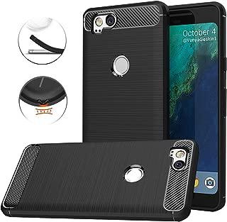 Google Pixel 2 Case,Google Pixel2 Case, Dretal Carbon Fiber Shock Resistant Brushed Texture Soft TPU Phone case Anti-Fingerprint Flexible Full-Body Protective Cover for Google Pixel2 (Black)