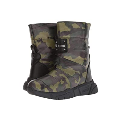 LOVE Moschino Quilted Ankle Boot (Military Green Camo) Women