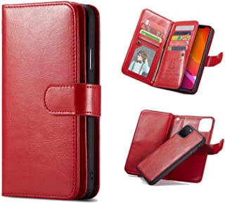 iPhone 11 Pro Max(6.5'') Wallet Case,Premium PU Leather [9 Credit ID Card Slots] Cash Holder Magnetic Closure Folio Flip Cover with Detachable Case for iPhone 11 Pro Max 2019 (Red)