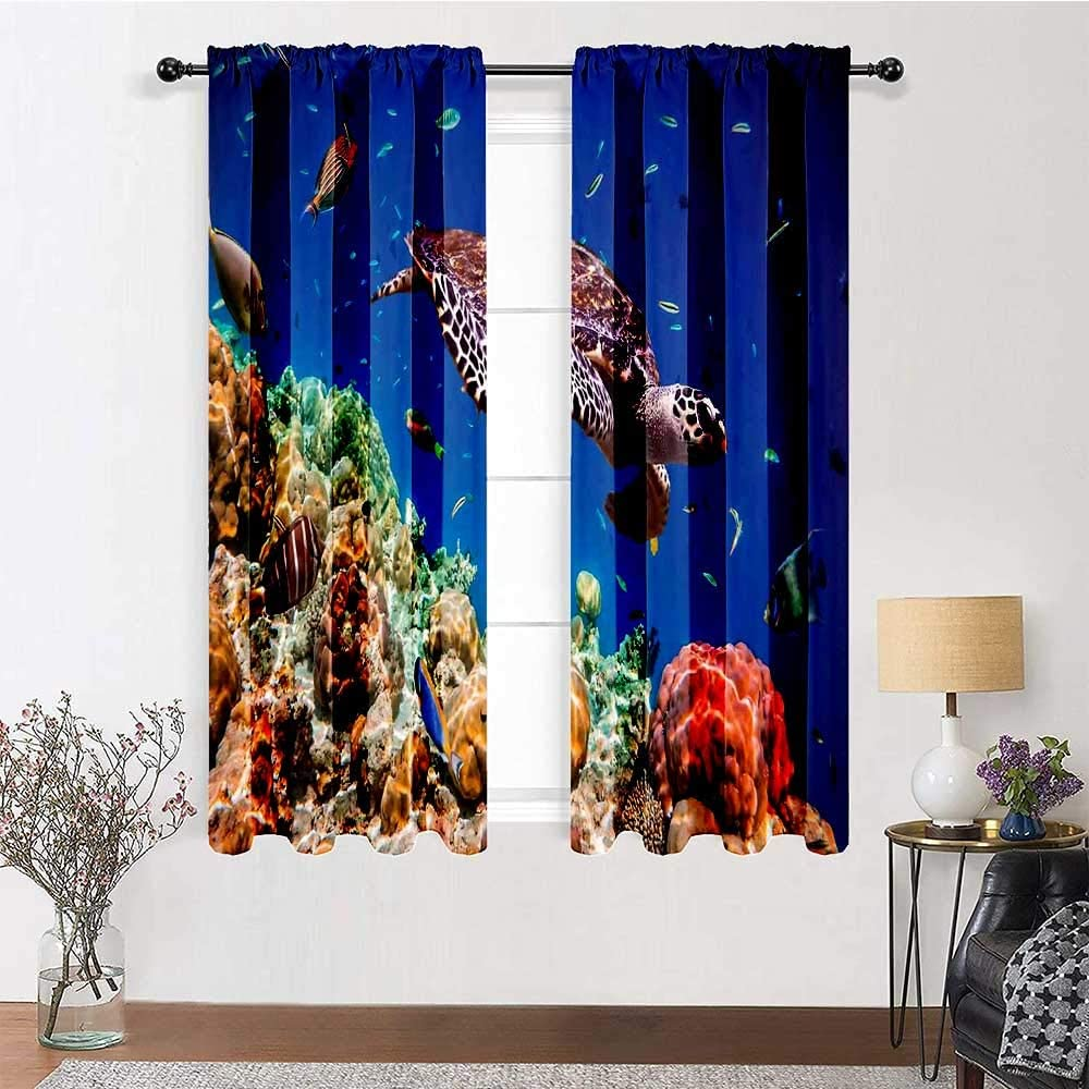 Translated Popular product GugeABC Kitchen Curtains 96 inch Rod Curtai Ocean Pocket Length
